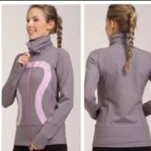 Lululemon 'In Stride' Jacket Gray With Pink logo